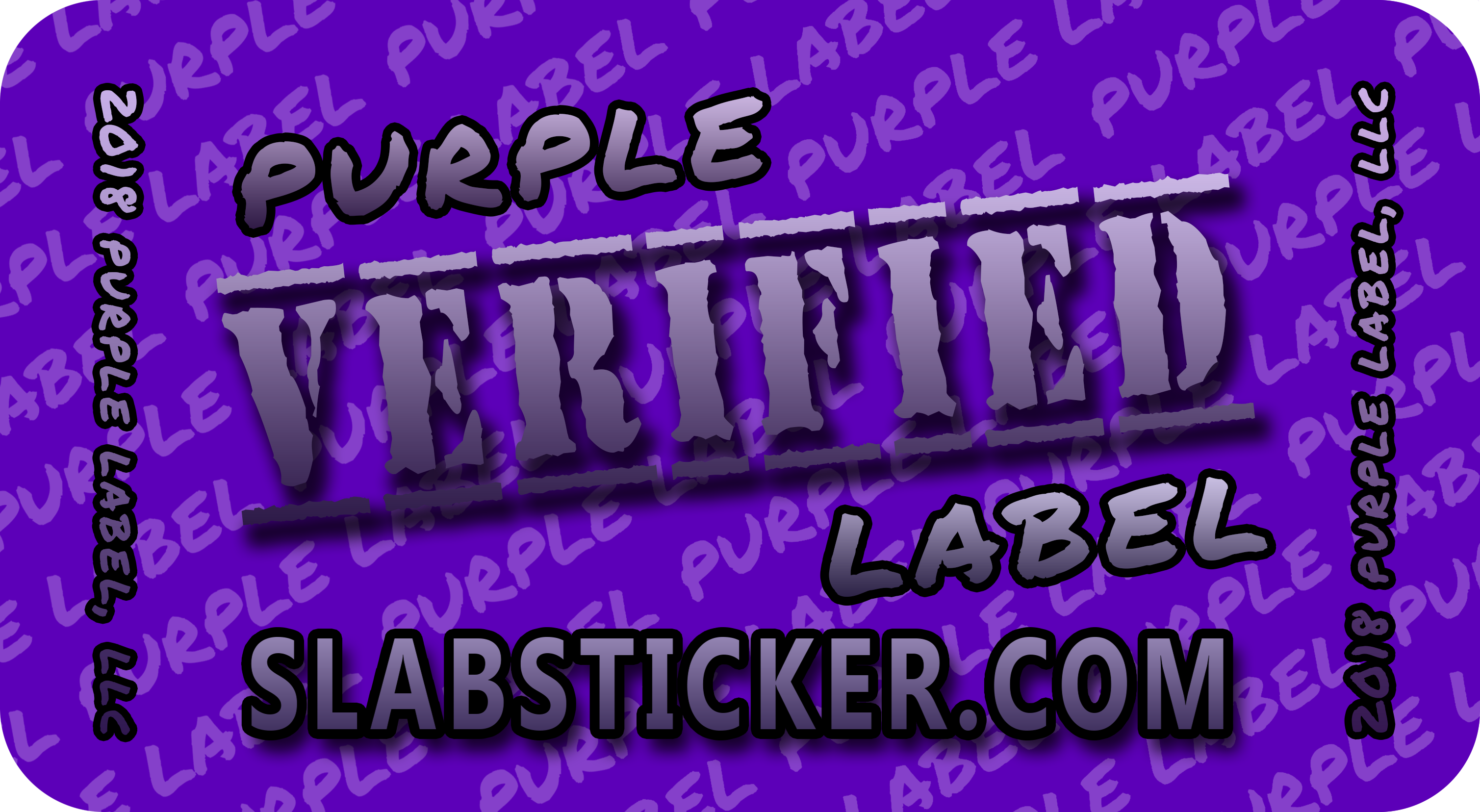 PURPLE LABEL STICKER with round corners gradient